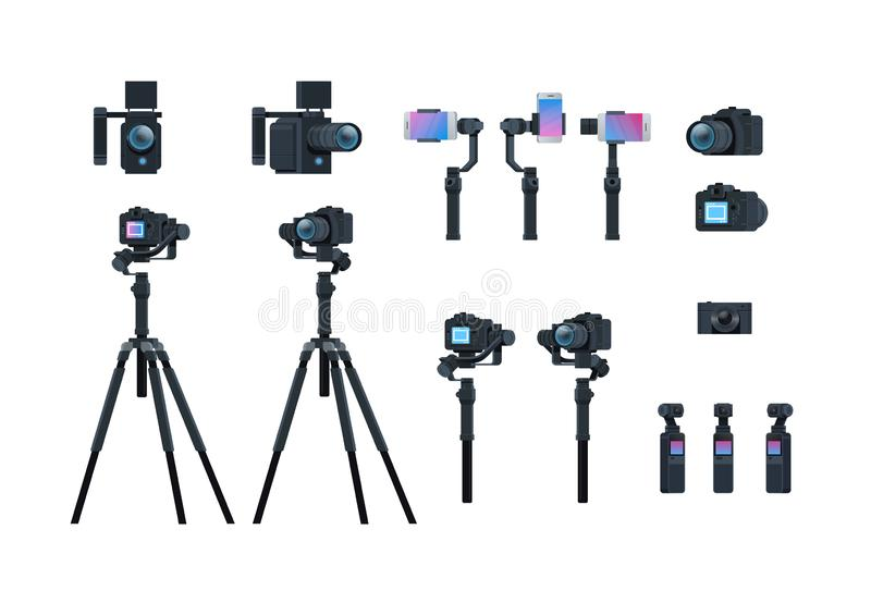 Set professional camera equipment motorized gimbal stabilizer tripod metal construction take a photo movie or video. Concept isolated collection horizontal flat stock illustration