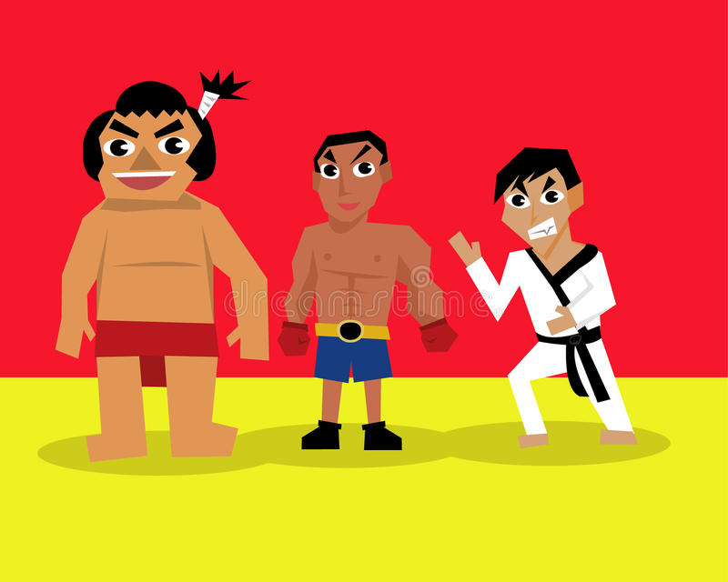 Set of professional career about martial art. vector illustration