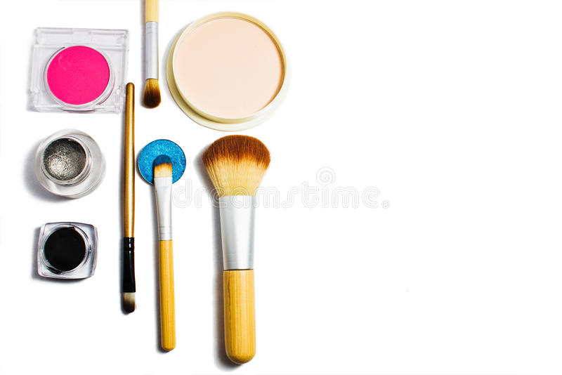 Set of professional cosmetics for make-up isolated on white background. stock photo