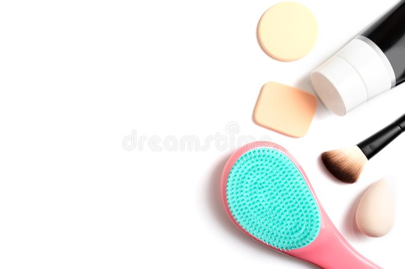 Set of professional decorative cosmetics, makeup and beauty tools and accessory on white background with copy space - beauty, royalty free stock images