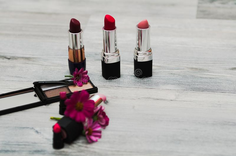 Set of professional decorative cosmetics, makeup tools and accessory on background. beauty, fashion, party and shopping concept. t. Professional decorative stock photography