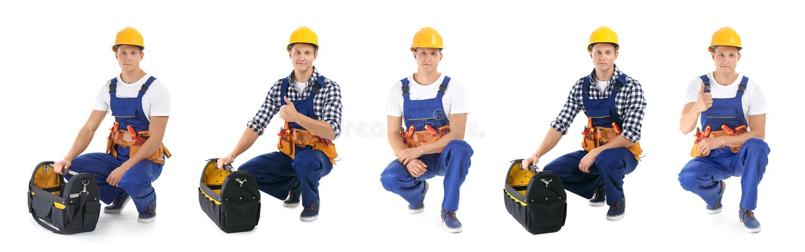 Set with professional electrician and tools royalty free stock image