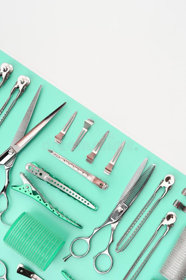 Set of professional hairdresser tools stock images