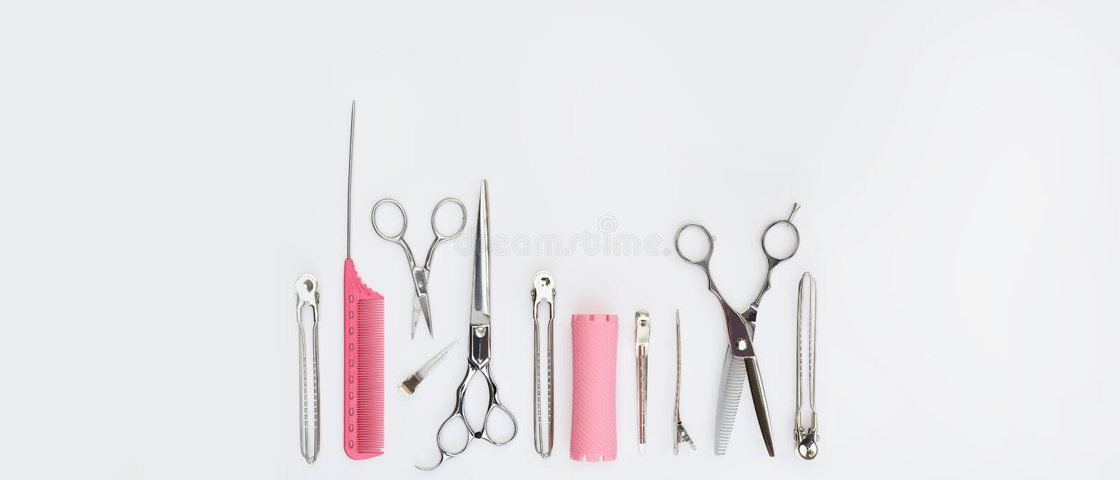Set of professional hairdresser tools stock photo