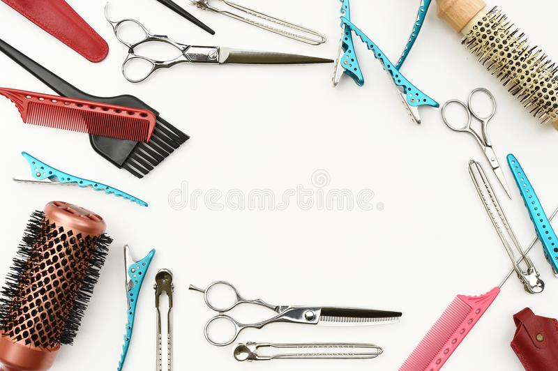 Set of professional hairdresser tools stock image
