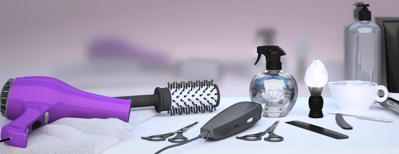 Set of professional hairdresser tools on light background. Table in barbershop. Working tool of barber master stock image