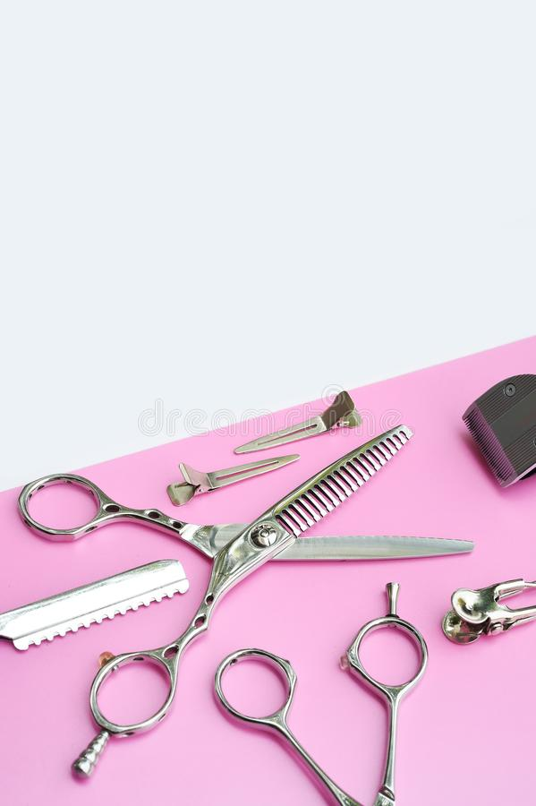 Set of professional hairdresser tools royalty free stock photography