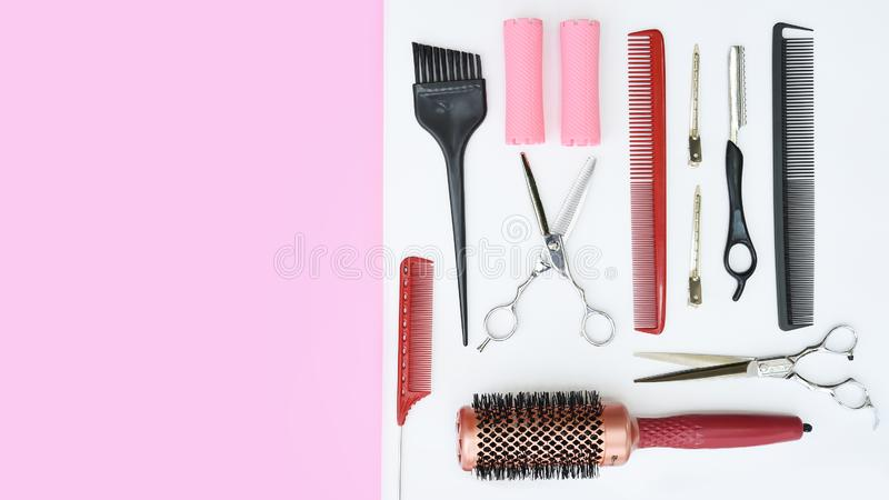 Set of professional hairdresser tools royalty free stock photos
