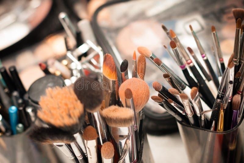 Set of professional make-up brushes stock photo