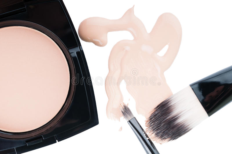 Set for professional make-up on white royalty free stock photos