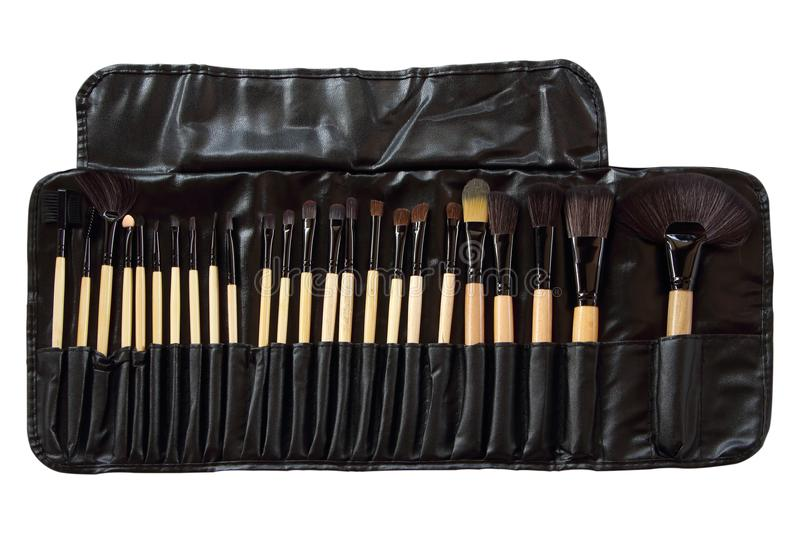 Set of professional Makeup brushes isolated on white background. stock photos