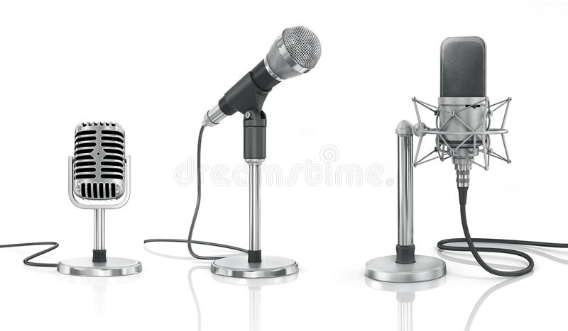 Set of professional microphones. On the white background stock photos