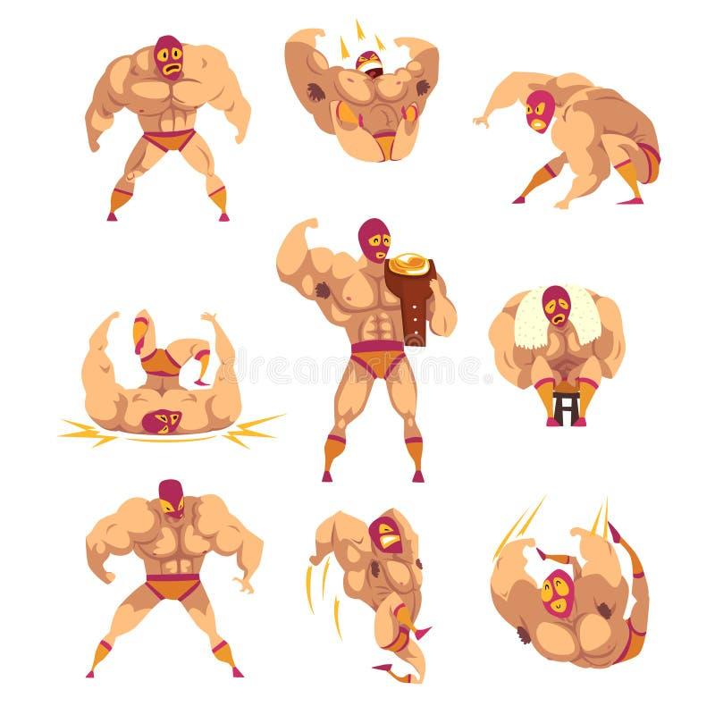 Set of professional muscular wrestler in different actions. Mixed martial artist. Combat sport. Strong man character in. Set of professional muscular wrestler in vector illustration