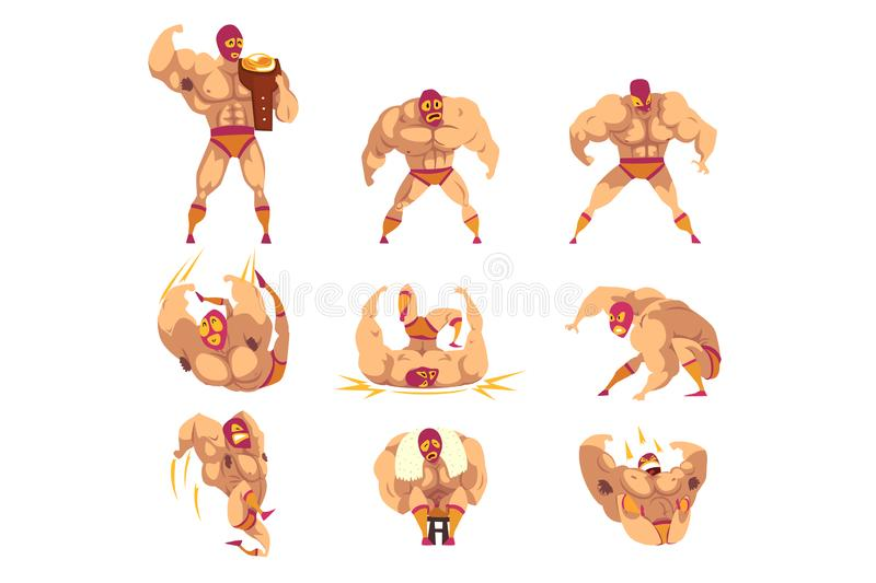 Set of professional muscular wrestler in different actions. Mixed martial artist. Combat sport. Strong man character in. Set of professional muscular wrestler in stock illustration