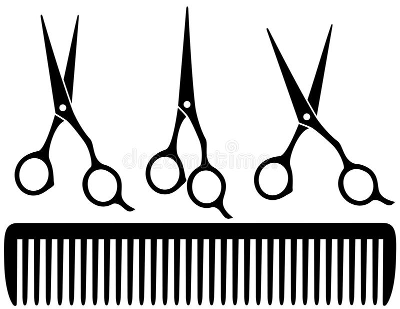 Set of professional scissors stock illustration