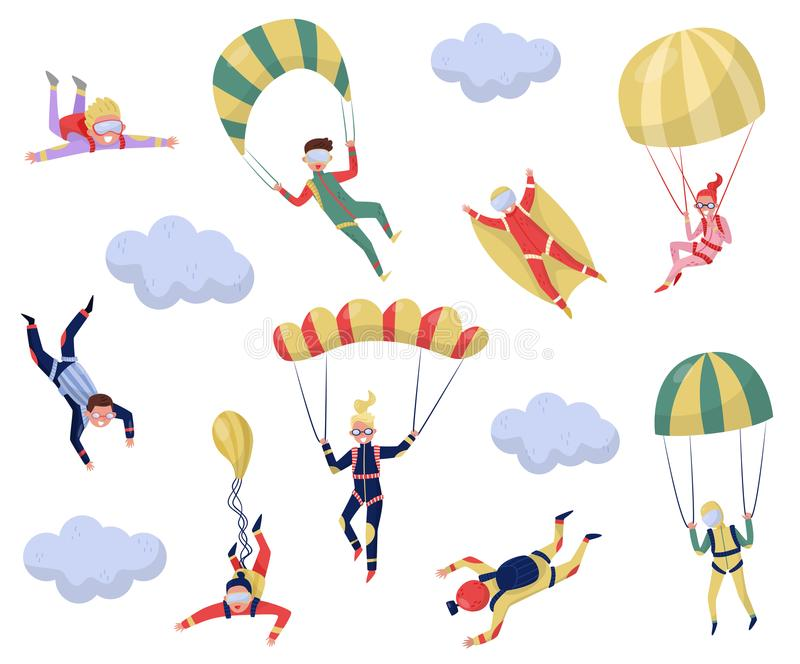 Flat vector set of professional skydivers. Extreme sport. Young wingsuit jumper. Active recreation. Skydiving theme royalty free illustration