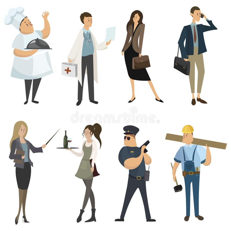 Set of professions. Collection of cartoon professions. Vector illustration for kids. royalty free illustration