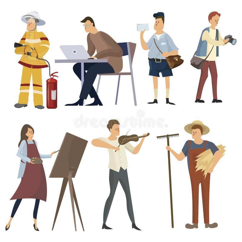 Set of professions. Collection of people of different professions. Illustration of men and women at work. Drawing for stock illustration
