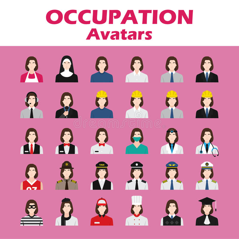 A set of professions people. Circle flat style icons. Occupation avatar. Business, medical, web, call center operator, workers. Vector illustration stock illustration