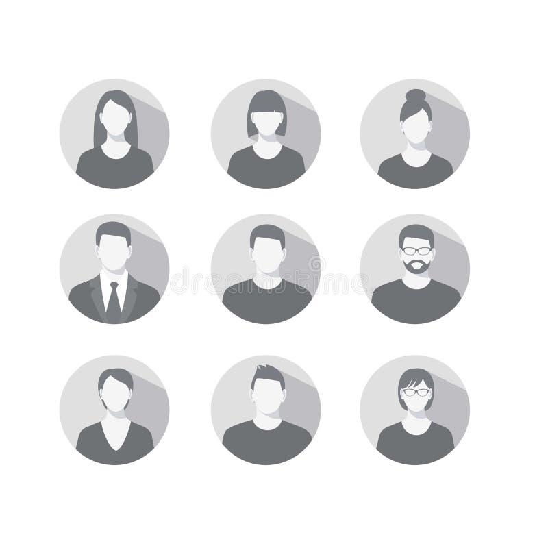 Set profilowe ikony dla mężczyzna i kobiet ilustracja wektor