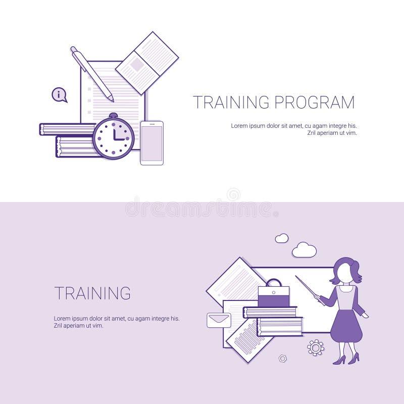 Set programów szkoleniowych sztandarów pojęcia szablonu Biznesowy tło Z kopii przestrzenią ilustracja wektor