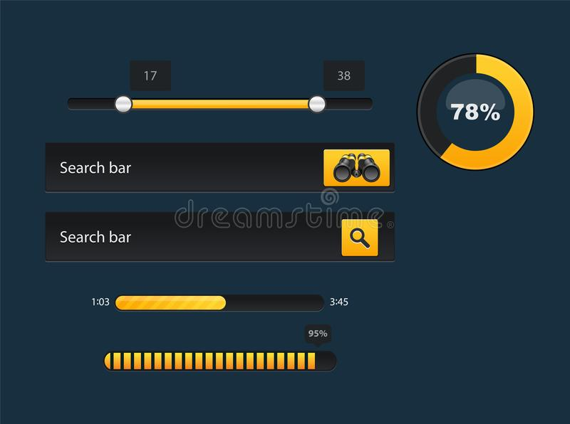 Set of progress bars with percentages. Loader and preload circle ui indicator. vector illustration