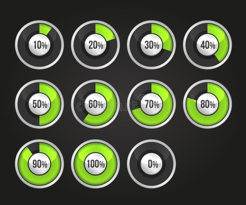Set of progress indicator circles stock illustration