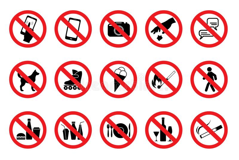 Set Prohibited Signs. Red icons. Vector stock illustration