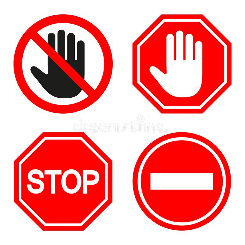 Set of prohibiting sign. signs of stop on white background vector illustration