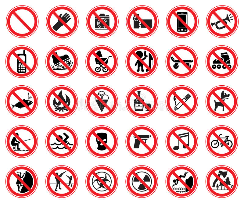 Set of prohibiting signs stock illustration