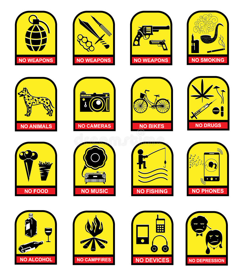 Set of prohibition signs royalty free illustration