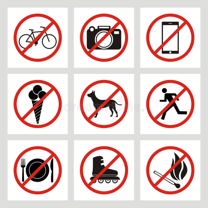 Set of prohibition signs at the entrance to the store or shop. N vector illustration