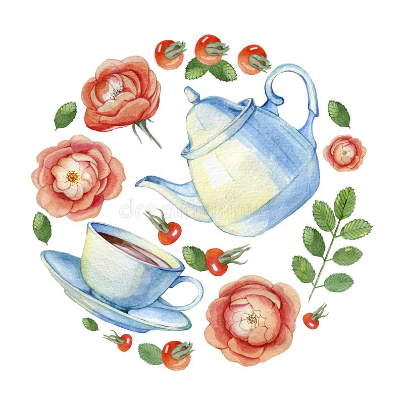 Set projektów elementy herbaciany przyjęcie royalty ilustracja