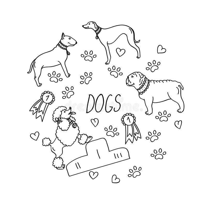 Set projektów elementy - psów trakeny, nagrody, serce ilustracja wektor