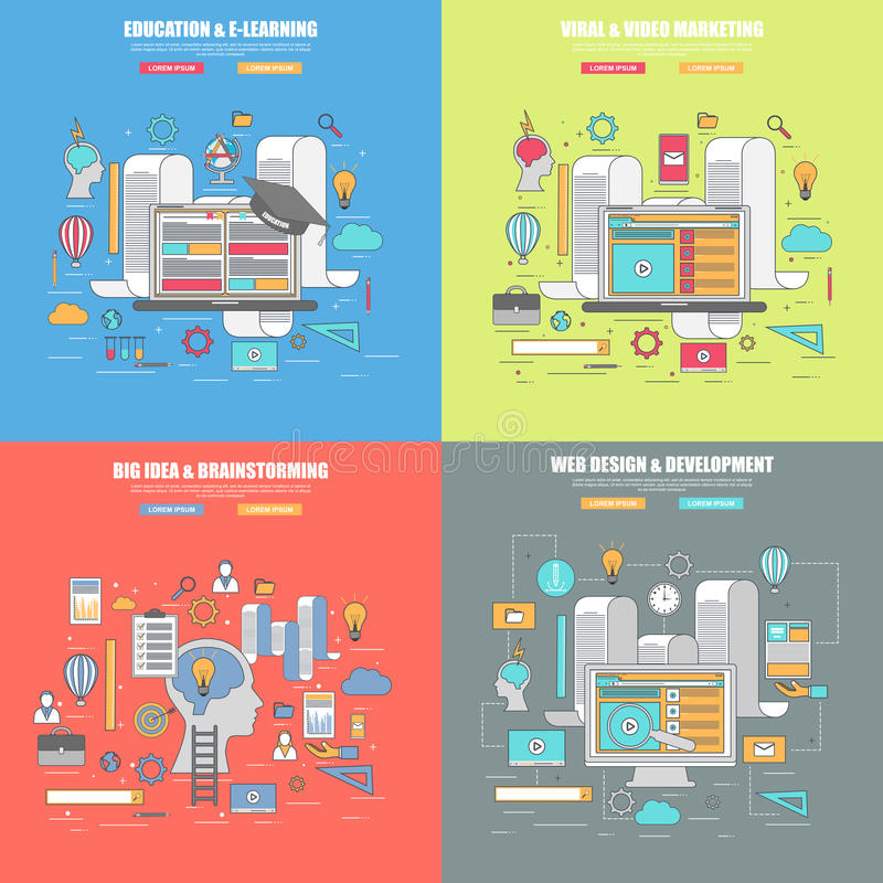 Set 4 projekta cienki kreskowy płaski pojęcie dla projektanta, edukaci i marketingu, uczenie, wirusowego i wideo, royalty ilustracja