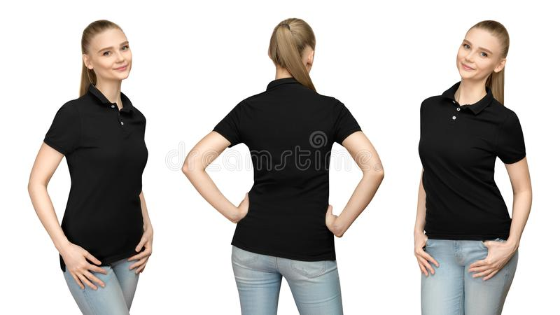 girl in blank black polo shirt mockup design for print and template woman in T-shirt front half turn side back view isolated stock photography