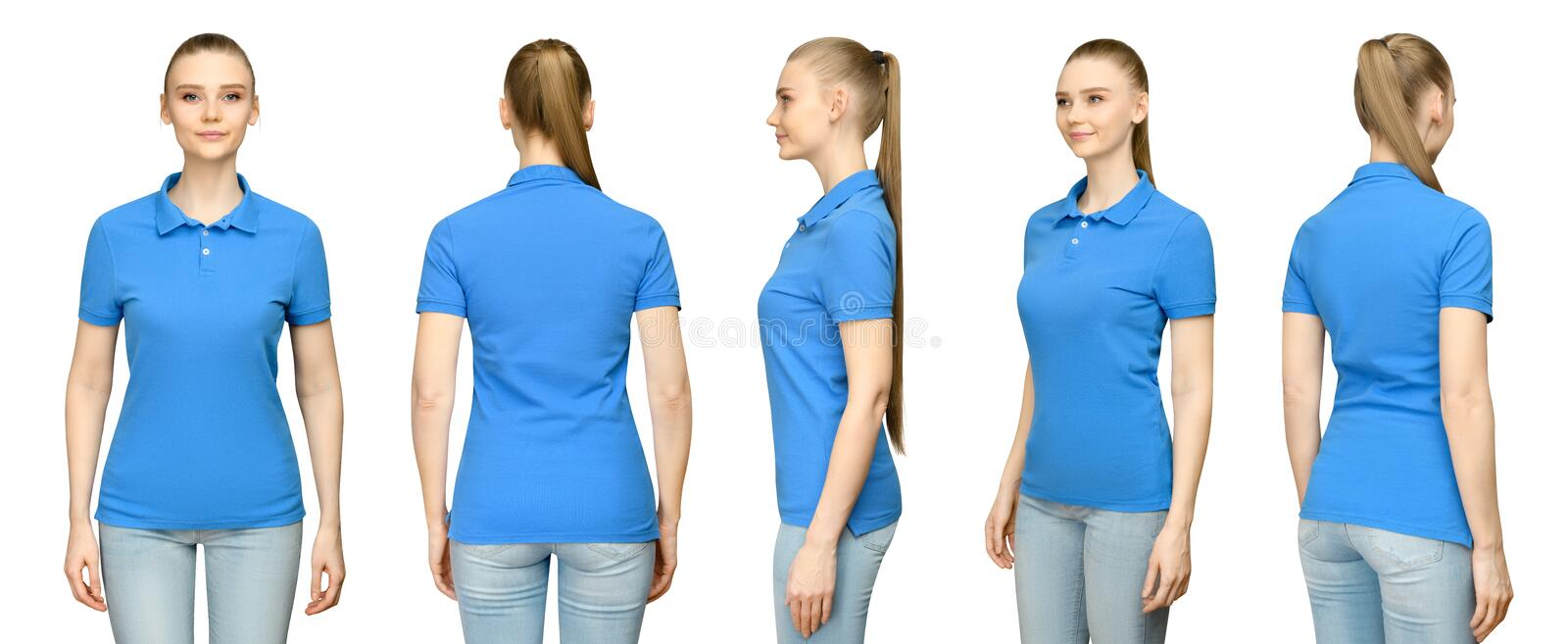 Girl in blank blue polo shirt mockup design for print and concept template young woman in T-shirt front and side back view stock photos