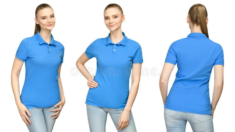 Girl in blank blue polo shirt mockup design for print and concept template young woman in T-shirt front and side back view stock photo