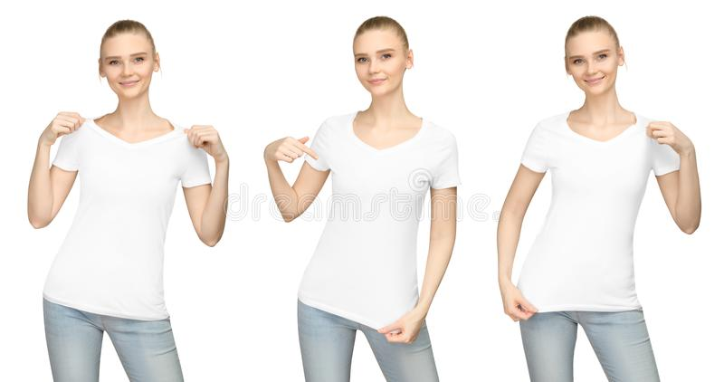 Promo pose girl in blank white tshirt mockup design for print and concept template young woman T-shirt front and half turn side. Set promo pose girl in blank royalty free stock photography