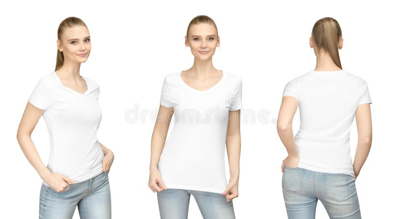 Promo pose girl in blank white tshirt mockup design for print and concept template young woman T-shirt front and side back view stock photography