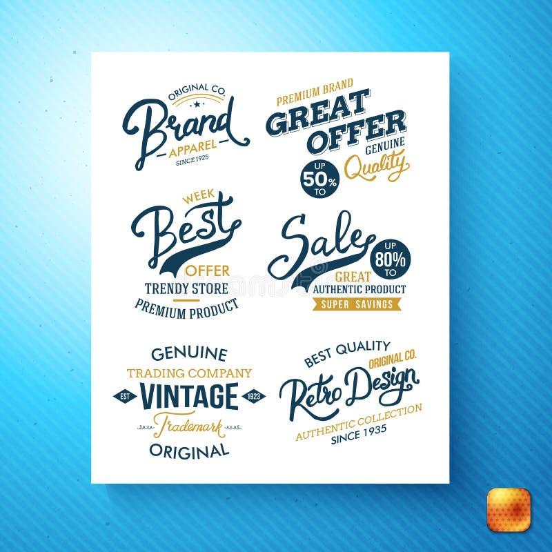 Set promocyjne sprzedaży detalicznej oferty etykietki royalty ilustracja