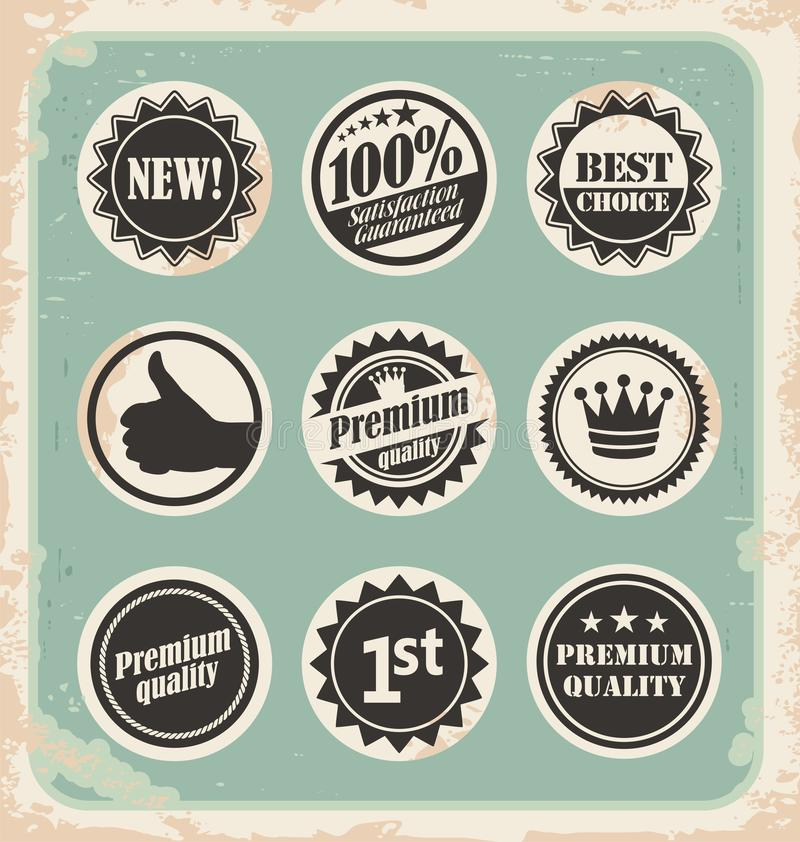 Download set of promotional retro labels badges stamps and stickers stock vector illustration