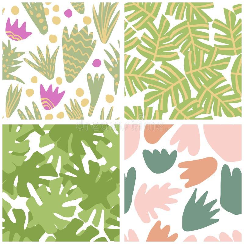 Set prosta freehand tropikalna zieleń opuszcza bezszwowego wzór ilustracji