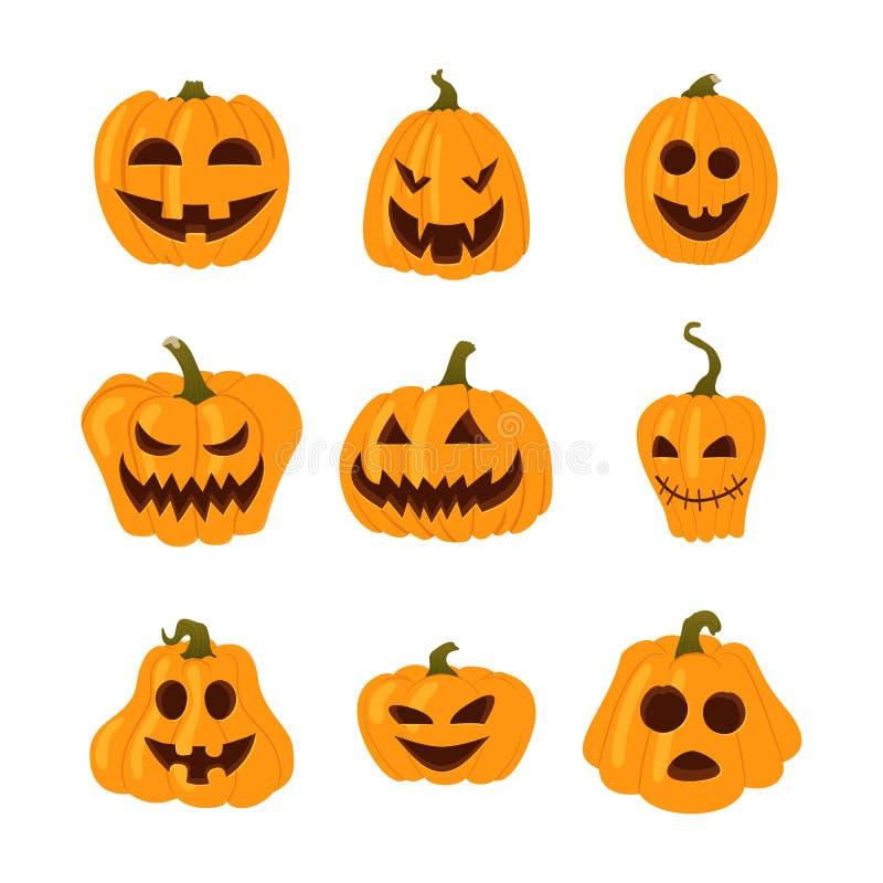 Set proste żółte banie z śmiesznymi twarzami kolejna Halloween ikon dynia coś czarownice ilustracji