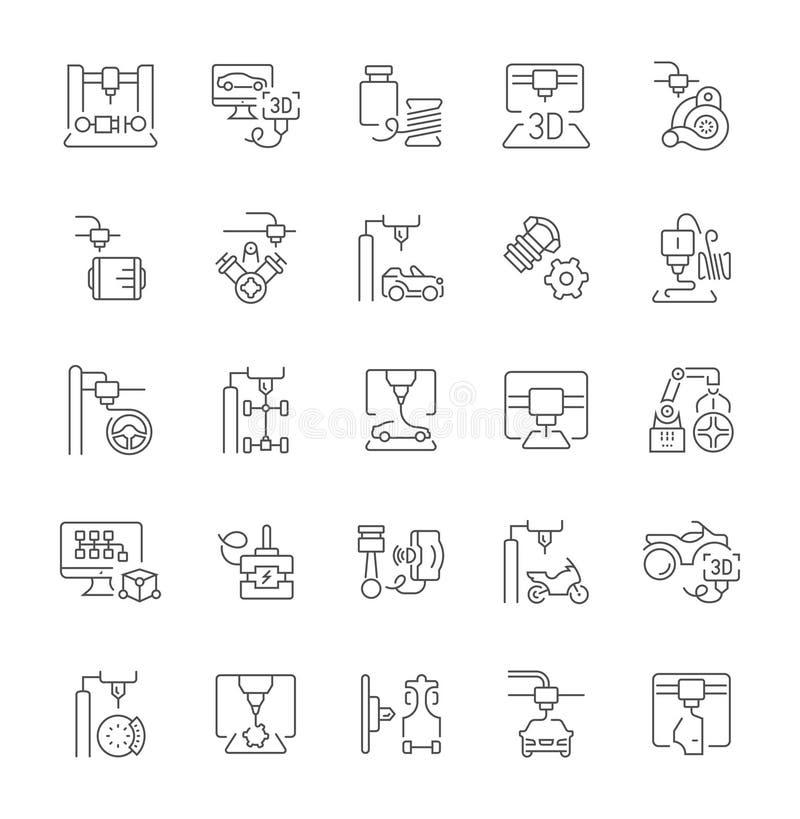 Set Proste ikony 3D samochodów Drukować ilustracja wektor