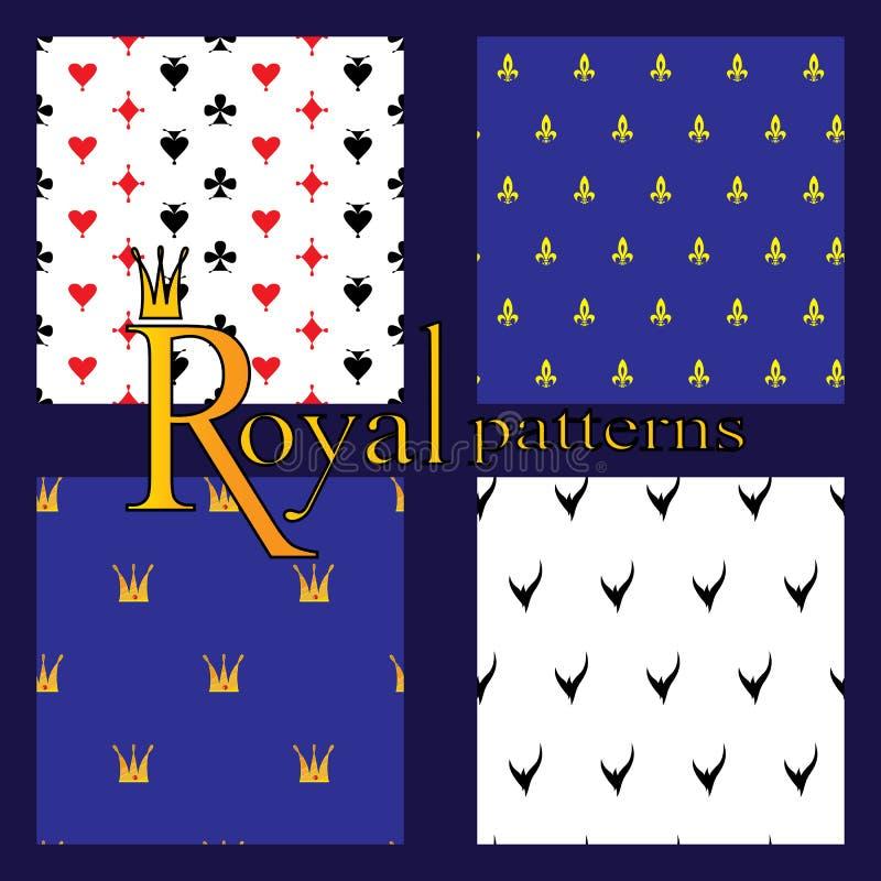 Set 4 prostego królewskiego wzoru obrazy stock