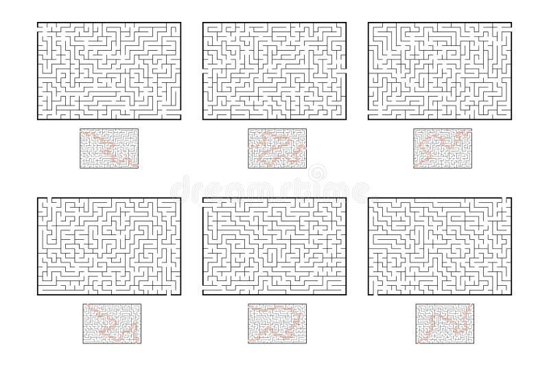 Set prostokątni labirynty gemowi dzieciaki Łamigłówka dla dzieci Labitynt zagadka Płaska wektorowa ilustracja odizolowywająca na  ilustracja wektor