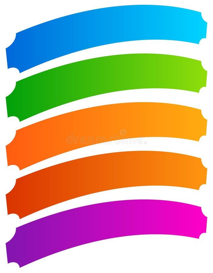 Set prosty sztandar, guzików kształty Kolorowi sztandary, guziki ja ilustracji