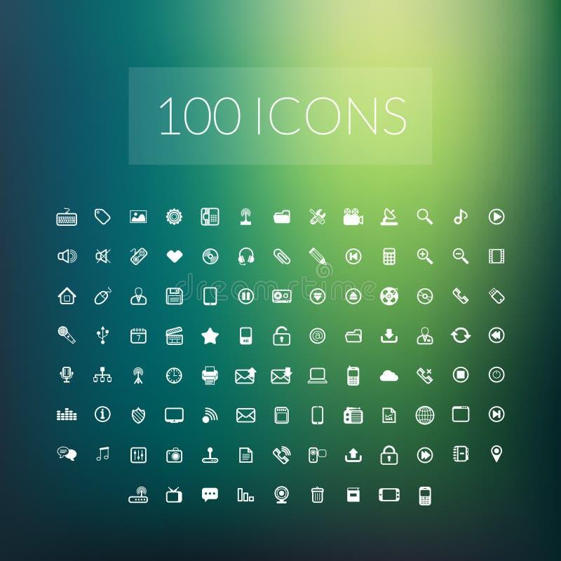 Set 100 prostych ogólnoludzkich nowożytni cienieje kreskowe ikony royalty ilustracja