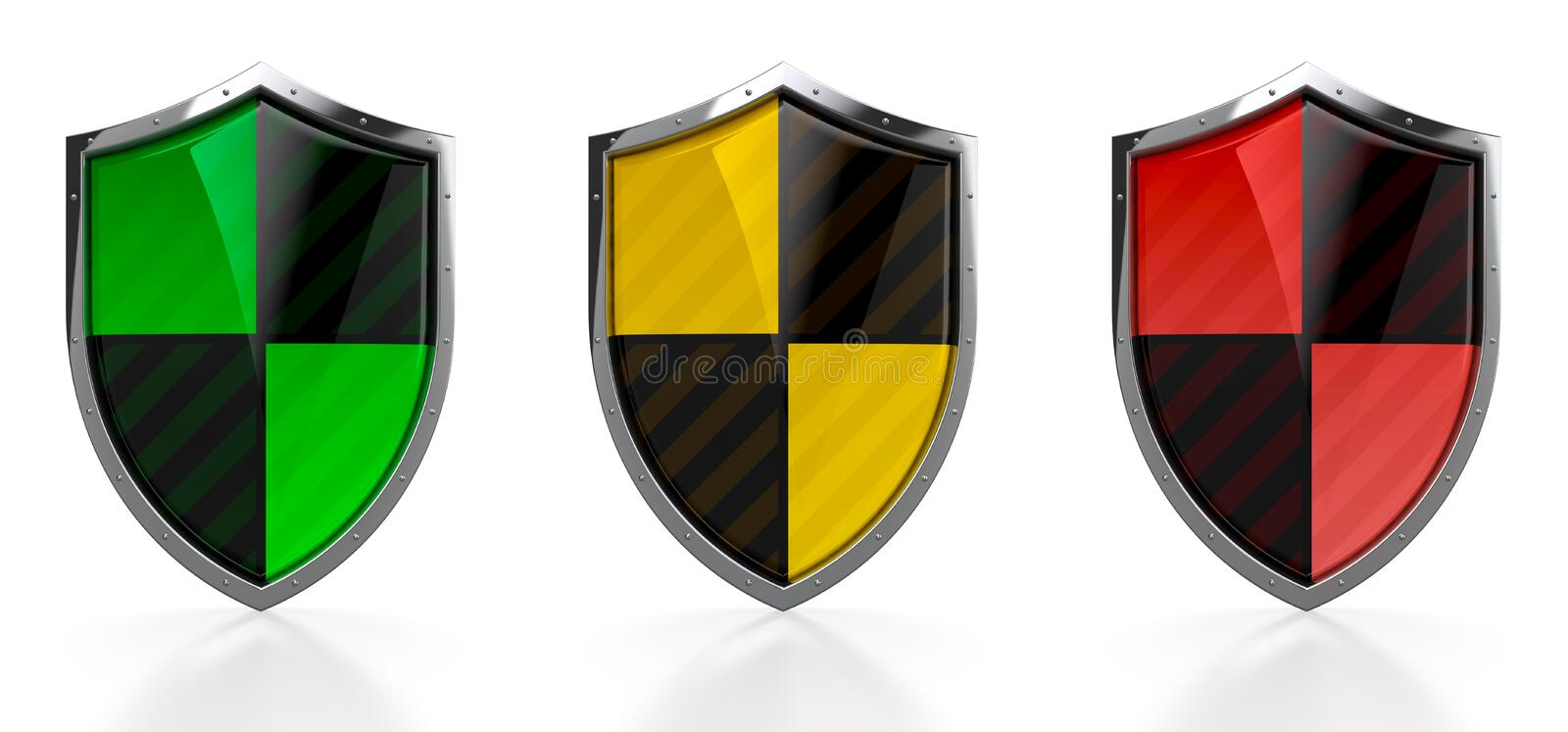 Download Set of protection shields stock illustration. Image of icon - 25470664